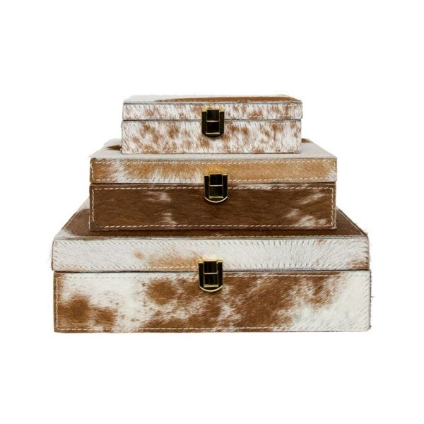 Bijoux Box Cow Brown (set Of 3) leather / wood - LifeDeals