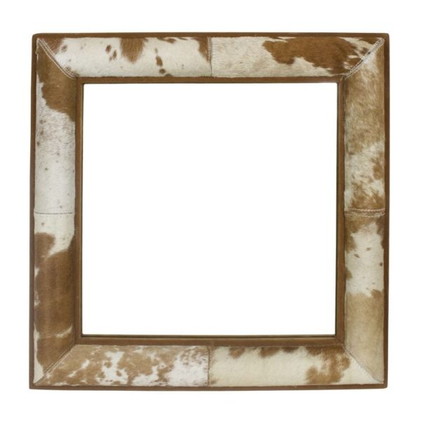 Mirror Square Cow Brown/white 50x50cm leather / glass - LifeDeals
