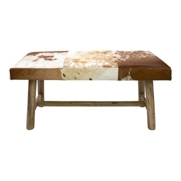 Bench Chalet Cow Red Brown 95cm (bos Taurus Taurus) leather/wood - LifeDeals