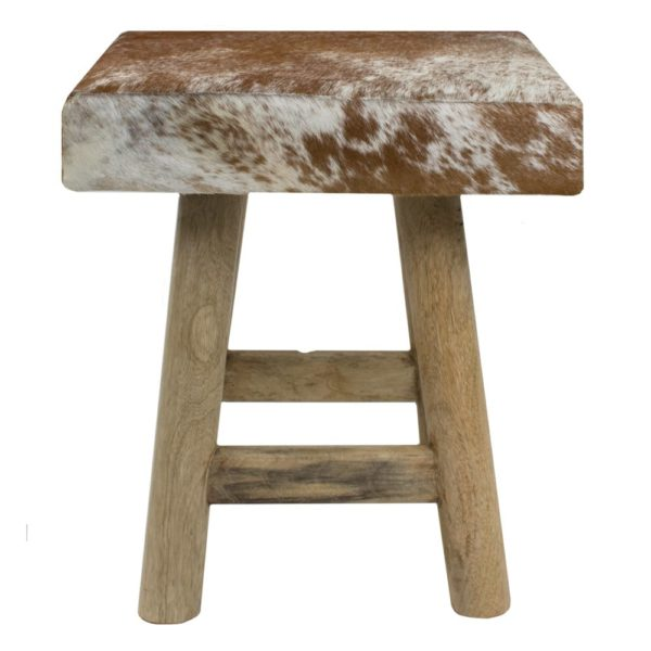 Stool Chalet Cow Red Brown Square (bos Taurus Taurus) leather/wood - LifeDeals