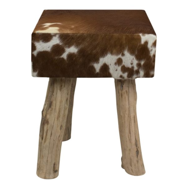 Pouffe Cow Red Brown Square (bos Taurus Taurus) leather/wood - LifeDeals