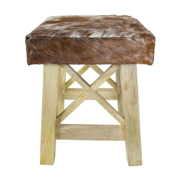 Stool X Cow Red Brown Square (bos Taurus Taurus) Leather / Wood - LifeDeals