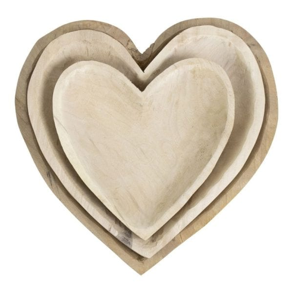 Wood Scales Heart (set Of 3) Wood - LifeDeals
