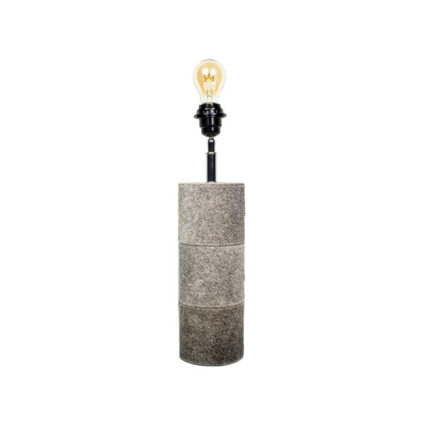Lamp Base Round Cow Grey 45cm Leather / wood - LifeDeals